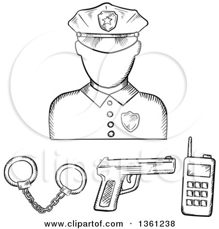 Clipart of a Black and White Sketched Police Avatar with Accessories - Royalty Free Vector Illustration by Vector Tradition SM