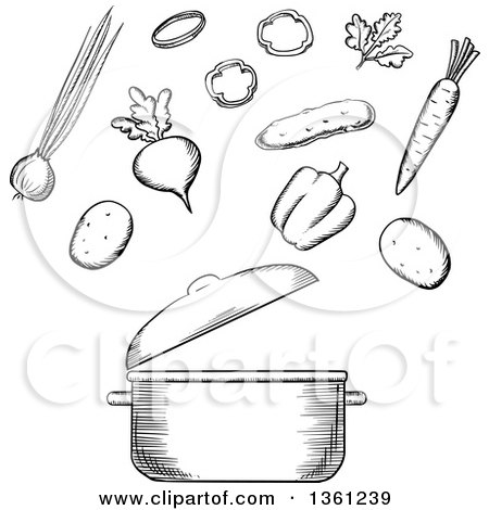 Clipart of a Black and White Sketched Soup Pot and Vegetables - Royalty Free Vector Illustration by Vector Tradition SM