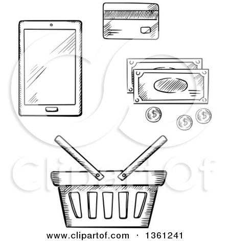 Clipart of a Black and White Sketched Shopping Basket, Smart Phone, Cash and Credit Card - Royalty Free Vector Illustration by Vector Tradition SM