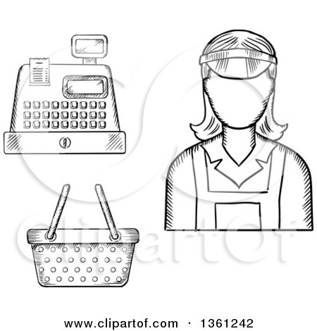 Clipart of a Black and White Sketched Cashier, Register and Basket - Royalty Free Vector Illustration by Vector Tradition SM