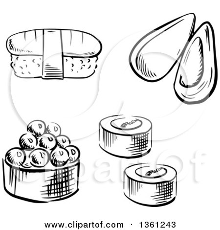 Clipart of a Black and White Sketched Sea Mussel, Sushi Rolls and Nigiri Sushi - Royalty Free Vector Illustration by Vector Tradition SM