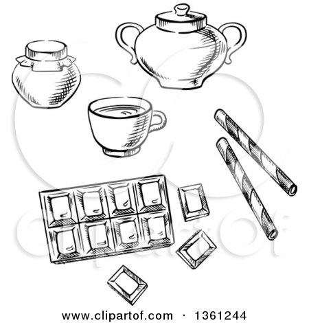 Black and White Sketched Cup of Coffee, Chocolate Bar, Honey Jar, Waffle Rolls and Sugar Bowl Posters, Art Prints