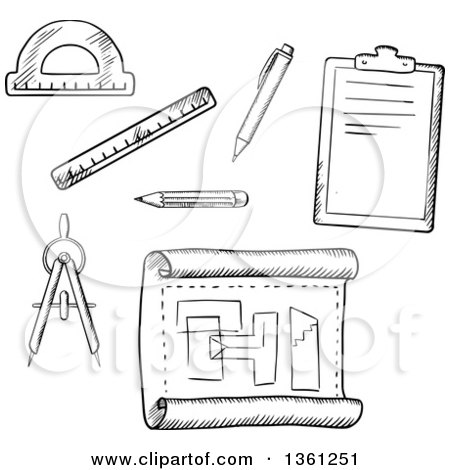 Clipart of a cartoon happy architecture compass on paper for Online drafting tool