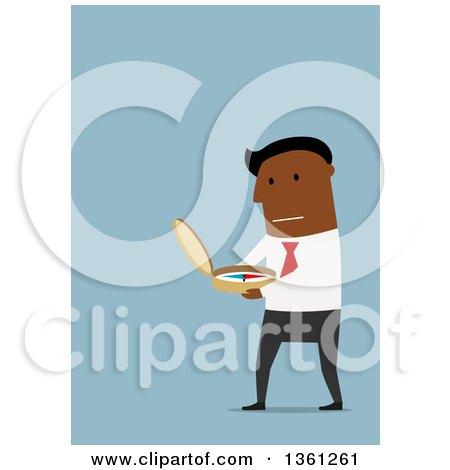 Clipart of a Flat Design Black Business Man Using a Compass, on a Blue Background - Royalty Free Vector Illustration by Vector Tradition SM
