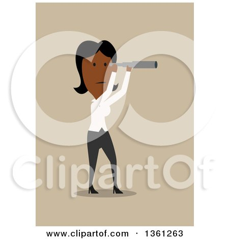 Clipart of a Flat Design Black Business Woman Using a Telescope, on a Tan Background - Royalty Free Vector Illustration by Vector Tradition SM