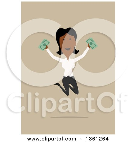 Clipart of a Flat Design Black Business Woman Holding Cash and Jumping, on a Tan Background - Royalty Free Vector Illustration by Vector Tradition SM