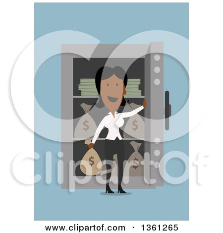 Clipart of a Flat Design Black Business Woman in Front of a Full Safe, on a Blue Background - Royalty Free Vector Illustration by Vector Tradition SM