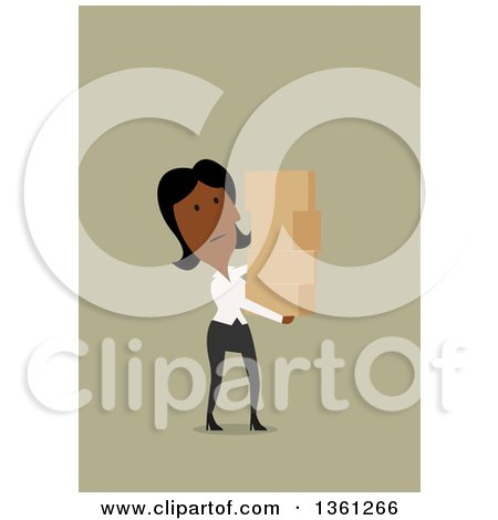 Clipart of a Flat Design Black Business Woman Carrying Boxes, on a Green Background - Royalty Free Vector Illustration by Vector Tradition SM