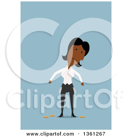 Clipart of a Flat Design Black Business Woman with Empty Turned out Pockets, on a Blue Background - Royalty Free Vector Illustration by Vector Tradition SM