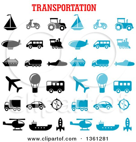 Clipart of Black and Blue Transportation Icons with Text - Royalty Free Vector Illustration by Vector Tradition SM