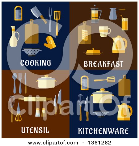 Cooking, Breakfast, Utensil and Kitchenware Flat Designs Posters, Art Prints