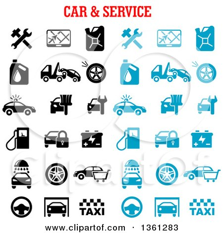 Clipart of Black and Blue Automotive Icons with Text - Royalty Free Vector Illustration by Vector Tradition SM