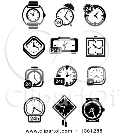Clipart of Black and White Watch, Clock and 24 Hour Designs - Royalty Free Vector Illustration by Vector Tradition SM