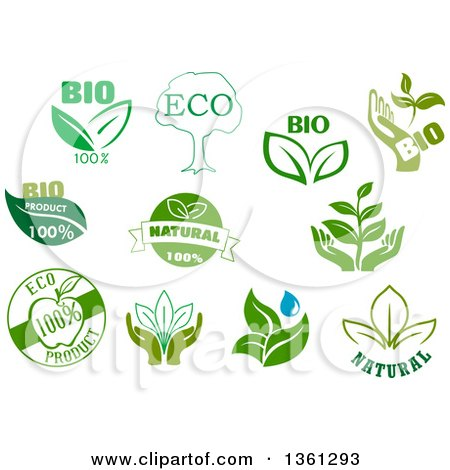 Clipart of Green Bio, Eco and Natural Designs - Royalty Free Vector Illustration by Vector Tradition SM