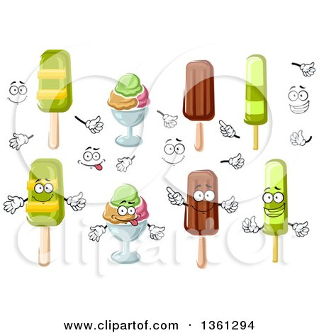 Clipart of Cartoon Faces, Hands, Popsicles and Ice Cream Sundaes - Royalty Free Vector Illustration by Vector Tradition SM