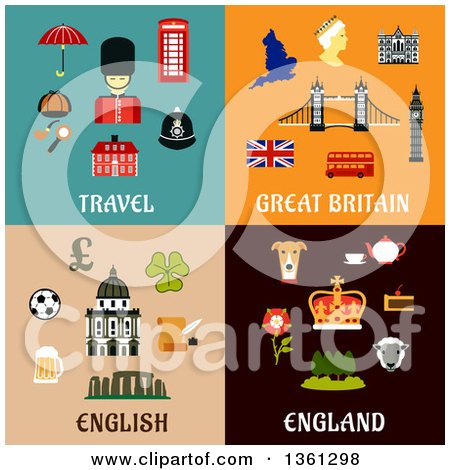 Travel, Great Britain, English and England Flat Designs Posters, Art Prints
