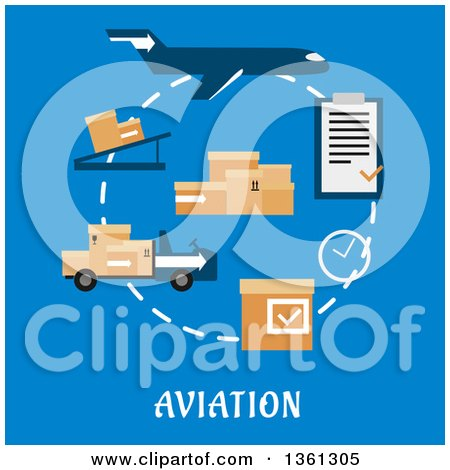 Clipart of a Flat Design Airplane, Cargo and Logistics Icons with Text on Blue - Royalty Free Vector Illustration by Vector Tradition SM