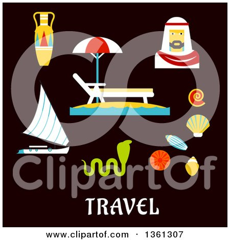 Clipart of Flat Design Egypt Travel Vacation Items over Text on Blue - Royalty Free Vector Illustration by Vector Tradition SM
