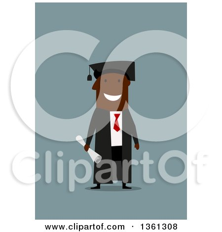 Clipart of a Flat Design Happy Black Male Graduate Holding a Degree, on a Blue Background - Royalty Free Vector Illustration by Vector Tradition SM