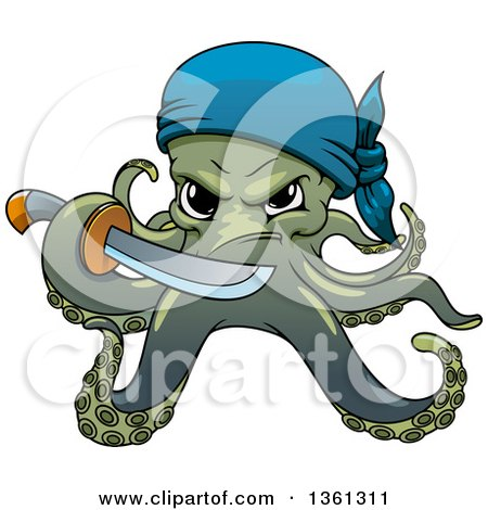 Clipart of a Cartoon Pirate Octopus Holding a Sword - Royalty Free Vector Illustration by Vector Tradition SM