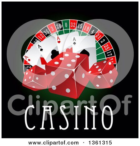 Clipart of a Casino Roulette Wheel with Poker Chips, Dice Playing Cards and Text on Black and Green - Royalty Free Vector Illustration by Vector Tradition SM