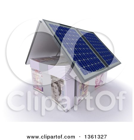 Clipart of a 3d House Made of Cash Money and Solar Panel Roofing, on a White Background - Royalty Free Illustration by KJ Pargeter