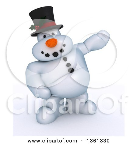 Clipart of a 3d Snowman Character Presenting, on a Shaded White Background - Royalty Free Illustration by KJ Pargeter