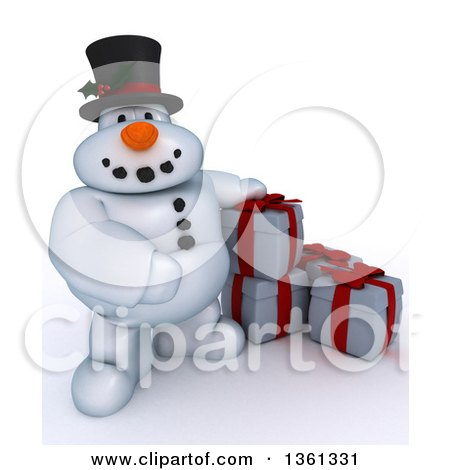 Clipart of a 3d Snowman Character with Christmas Gifts, on a Shaded White Background - Royalty Free Illustration by KJ Pargeter