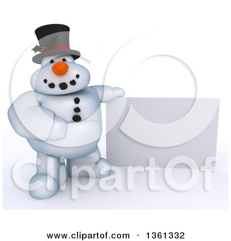 Clipart of a 3d Snowman Character by a Blank Sign, on a Shaded White Background - Royalty Free Illustration by KJ Pargeter