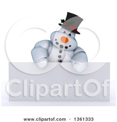 Clipart of a 3d Snowman Character over a Blank Sign, on a Shaded White Background - Royalty Free Illustration by KJ Pargeter