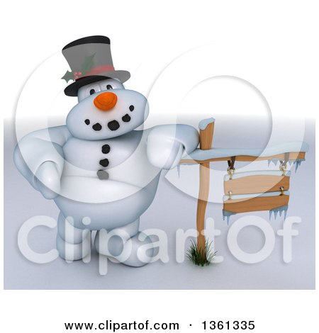 Clipart of a 3d Snowman Character Leaning on a Wooden Sign, on a Shaded White Background - Royalty Free Illustration by KJ Pargeter