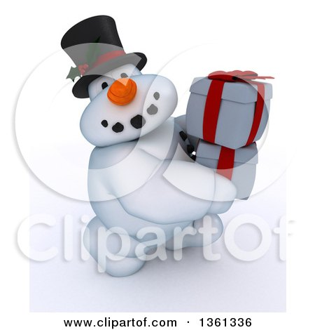 Clipart of a 3d Snowman Character Carrying Christmas Gifts, on a Shaded White Background - Royalty Free Illustration by KJ Pargeter