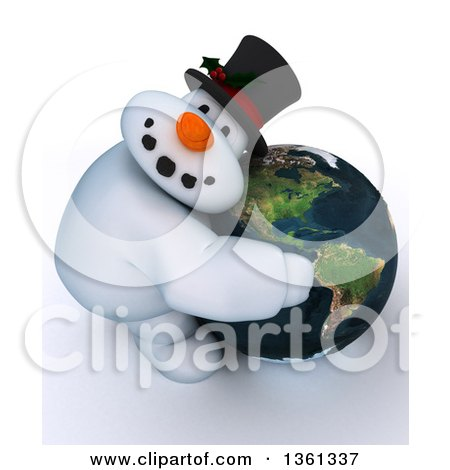 Clipart of a 3d Snowman Character Hugging Planet Earth Featuring the Americas, on a Shaded White Background - Royalty Free Illustration by KJ Pargeter