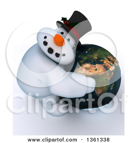 Clipart of a 3d Snowman Character Hugging Planet Earth Featuring Africa, on a Shaded White Background - Royalty Free Illustration by KJ Pargeter