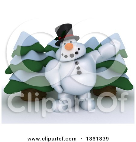 Clipart of a 3d Snowman Character Presenting over Evergreens, on a Shaded White Background - Royalty Free Illustration by KJ Pargeter