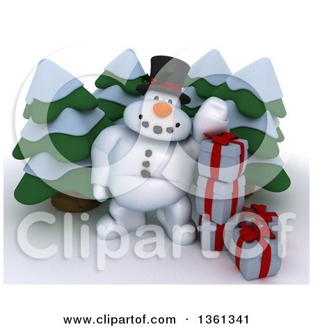 Clipart of a 3d Snowman Character with Christmas Gifts and Evergreen Trees, on a Shaded White Background - Royalty Free Illustration by KJ Pargeter