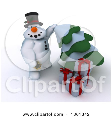Clipart of a 3d Snowman Character with Christmas Gifts, Putting a Star on an Evergreen Tree, on a Shaded White Background - Royalty Free Illustration by KJ Pargeter