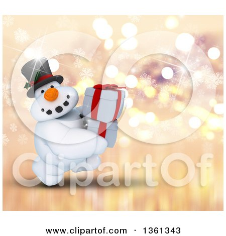 Clipart of a 3d Snowman Character Carrying Christmas Gifts, on a Sparkly Snowflake and Bokeh Background - Royalty Free Illustration by KJ Pargeter