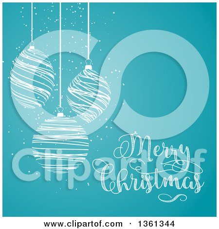 Clipart of White Scribble Christmas Baubles Suspended over Blue with Merry Christmas Text - Royalty Free Vector Illustration by KJ Pargeter