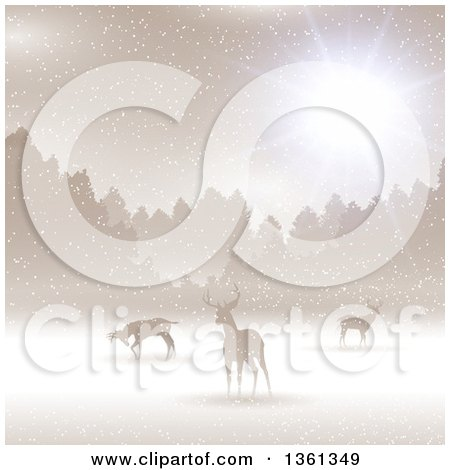 Clipart of a Christmas Background of Silhouetted Alert Deer in the Snow Against Trees with Sunshine, Golden Sepia Tones - Royalty Free Vector Illustration by KJ Pargeter