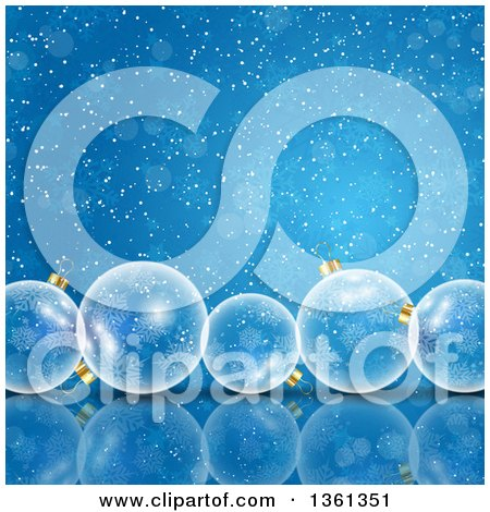 Clipart of a Background of 3d Transparent Christmas Baubles over Blue Flares and Snowflakes - Royalty Free Vector Illustration by KJ Pargeter