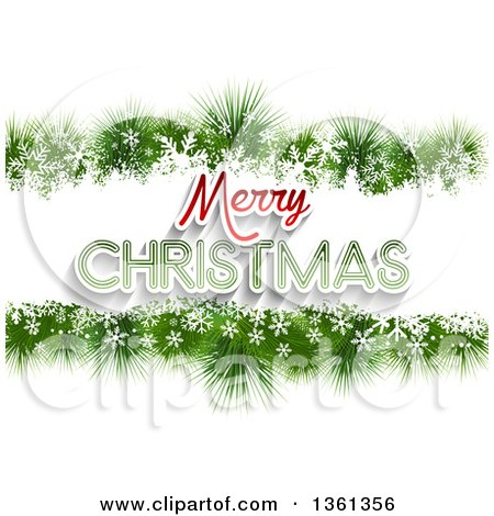 Clipart of a Merry Christmas Greeting in a Border of Snowflakes and Fir Branches, on White - Royalty Free Vector Illustration by KJ Pargeter
