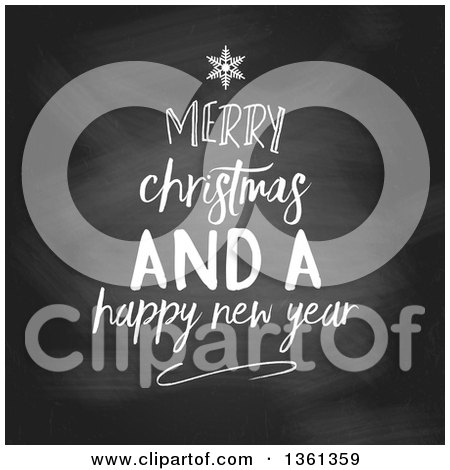 Clipart of a White Chalk Merry Christmas and a Happy New Year Greeting in the Shape of a Tree on a Blackboard - Royalty Free Vector Illustration by KJ Pargeter
