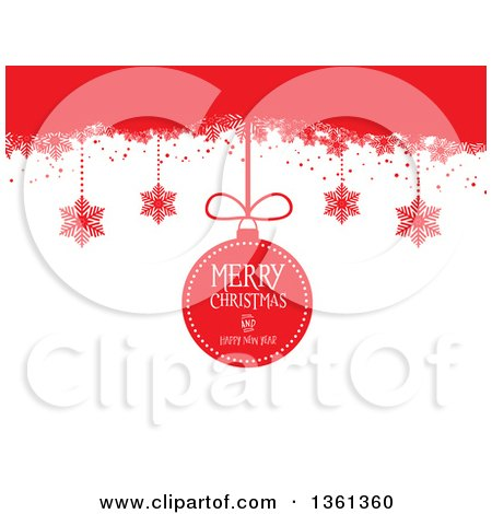 Clipart of a Suspended Merry Christmas and Happy New Year Bauble and Snowflakes from Red, on White - Royalty Free Vector Illustration by KJ Pargeter