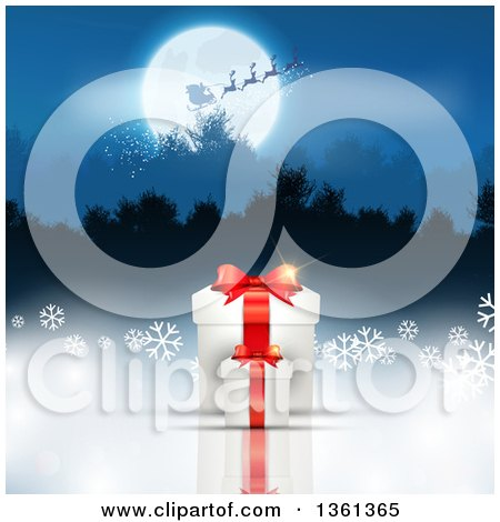 Clipart of a Silhouetted Santa Flying His Magic Sleigh over a Full Moon and Wooded Mountains, with 3d Christmas Gifts and Snowflakes Below - Royalty Free Vector Illustration by KJ Pargeter