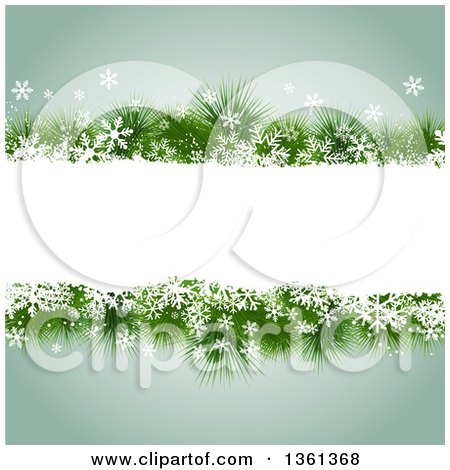 Clipart of a Frame of Snowflakes and Christmas Tree Branches over Green - Royalty Free Vector Illustration by KJ Pargeter