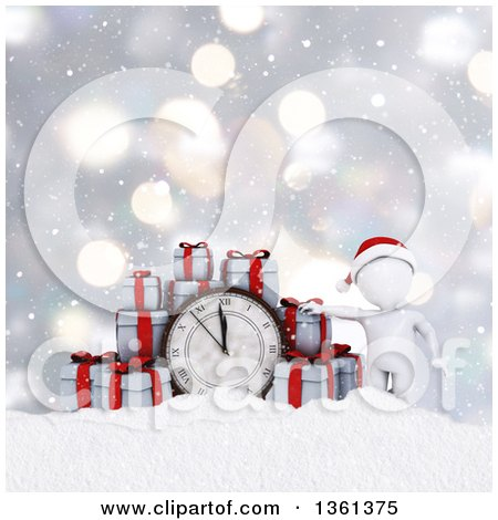 Clipart of a 3d White Man with Christmas Gifts and a Clock over Snow and Bokeh - Royalty Free Illustration by KJ Pargeter