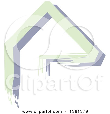 Clipart of a Home Made of Green and Purple Painted Lines - Royalty Free Vector Illustration by KJ Pargeter