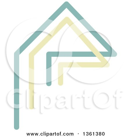 Clipart of a Home Made of Green and Yellow Lines - Royalty Free Vector Illustration by KJ Pargeter