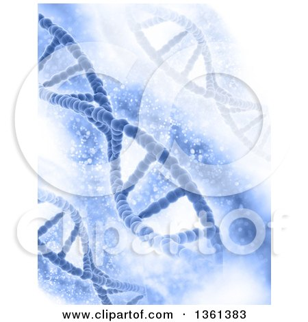 Clipart of a Background of Diagonal DNA Strands over Magical Blue - Royalty Free Illustration by KJ Pargeter